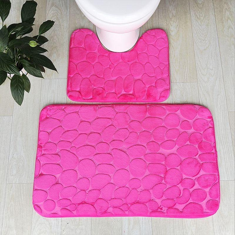 2 Pieces/ Set 50x80cm 50x40cm Non-slip Floor Carpet Mat Pebbles Flannel Toilet Carpet WC Waterproof Floor Mats Memory Foam Rug