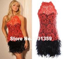 Heißer Rosa Spitze Neckholder Zurück Loch Mini Kurze Benutzerdefinierte maß Kleid Vestido De Festa Design CD9251 Mädchen Feder kleid