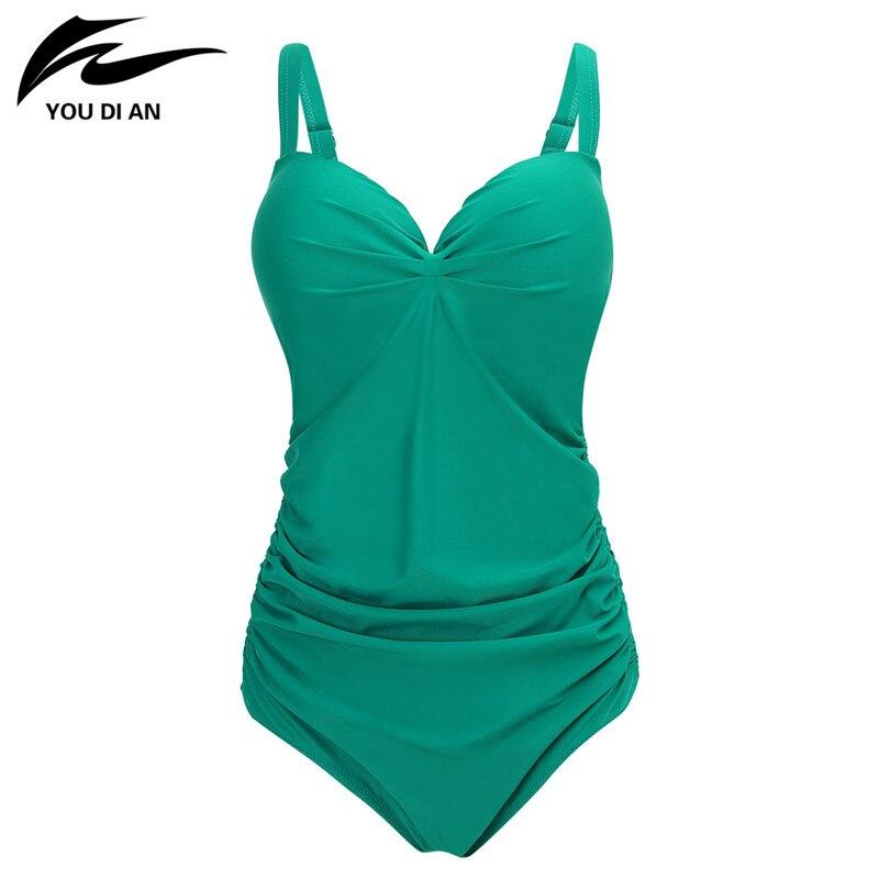 New Arrival Plus Size Swimwear Women One Piece Swimsuit V Neck Bathing Suits Retro Beachwear Solid Swimwear цена и фото