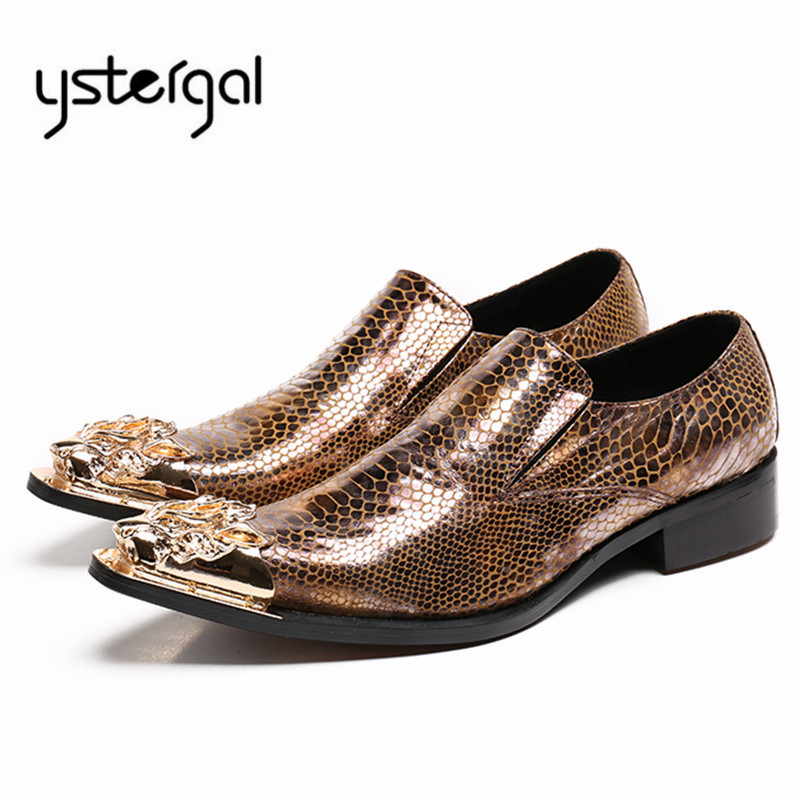 YSTERGAL Handmade Metal Pointed Toe Men Snakeskin Leather Shoes Mens Wedding Shoe Slip On Formal Dress Flats Oxford Shoes
