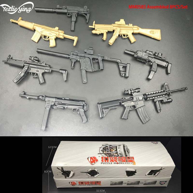 1/6 Military Scales 4D <font><b>Gun</b></font> Model Toy Set Soldier accessories Weapon MP5/UZI/HK53/KRISS/<font><b>MP40</b></font>/MP7/MP5SD5/MK18 For Action Figure image