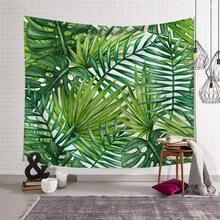 Nodic Green Plant Leaf Print Tapestry Throw Rug Blanket Camping Tent Travel Mattress Sleeping Pad Mandala Home Decor