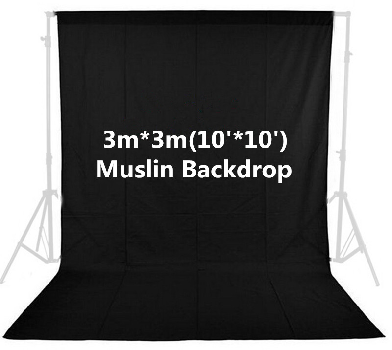 Photo Studio 100% Cotton Black 3m x 3m/10ft x 10ft Solid Muslin Backdrop Photography Backgrounds Backdrops inno photo studio photography 10ft x 20ft 3m x 6m studio solid background muslin backdrop green 100% cotton high quality psb3b