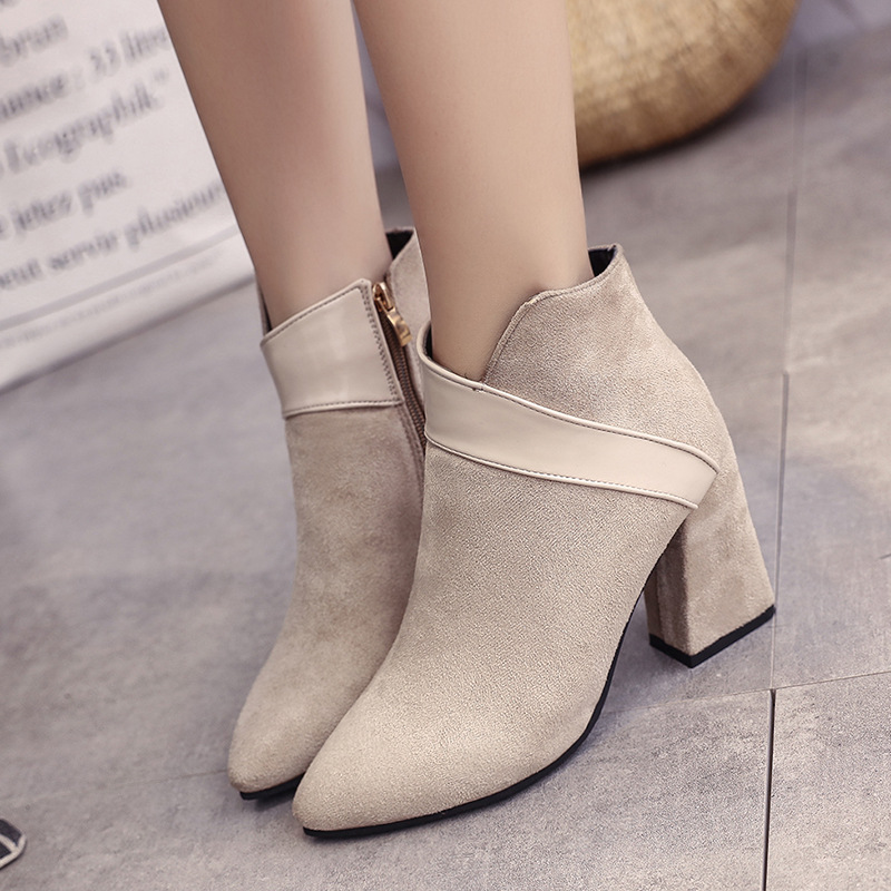 High heels shoes women autumn winter sexy pointed toe ankle boots ladies retro chunky heels short boots botas mujer beige black 39