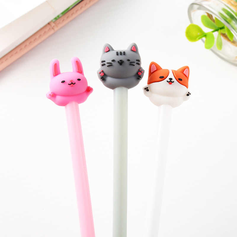 1PC Cute Kawaii Cat Gel Pen 0.5mm Cartoon Plastic Black Ink Gel Pens for Writing Office School Supplies Stationery