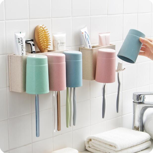 Wall Shelf Hanging Toothbrush Holder Cup Wash Set Bathroom Organizer Toothbrush Storage Rack