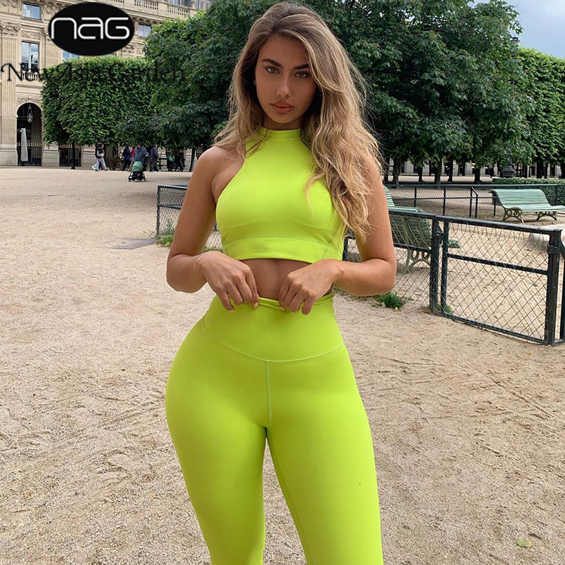 NewAsia Tracksuit Women Two Piece Set 2019 Summer Sleeveless Crop Top Long Pants Two Piece Outfits Casual Activewear 2 Piece Set