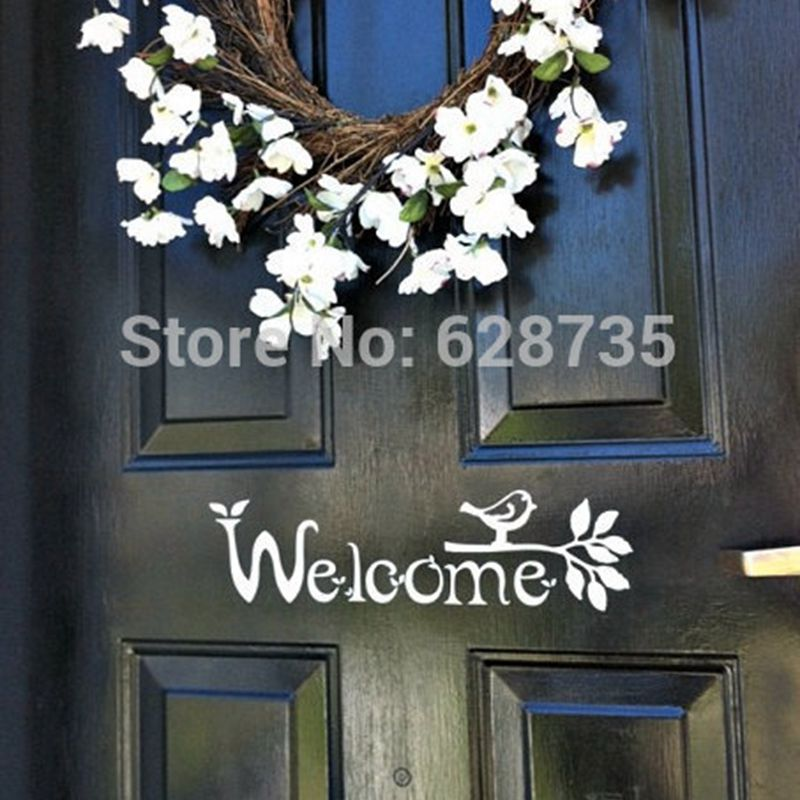 Front Door Sign Part - 43: Welcome Sign Vinyl Front Door Decal With Bird And Branch, FREE SHIPPING  Housewares F3051