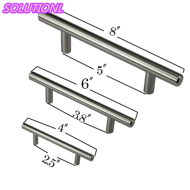 """New 4"""" 6"""" 8"""" Cabinet T Bar Pull Handle Stainless Steel"""