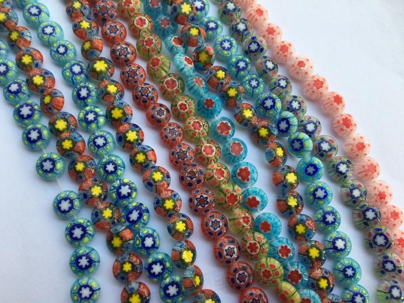 Purple Floral Millefiori Glass Flat Rectangle 10x11mm Beads Qty 11 B4834