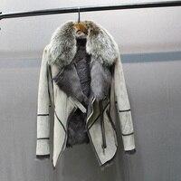 100% Натуральная овечья кожа с меховым пальто с лисьим меховым воротником тонкие стильные модные женские осенние кожаные и овечка Меховая ку