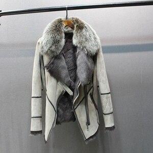 Image 1 - 100% echtem schaffell leder mit pelz mantel mit fuchs pelz kragen schlanke stile mode frauen herbst haut und lamm schafe pelz jacke