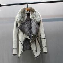 100% in vera pelle di pecora con il cappotto di pelliccia con pelliccia di volpe collare slim stili di modo delle donne di autunno pelle e agnello di pecora giacca di pelliccia