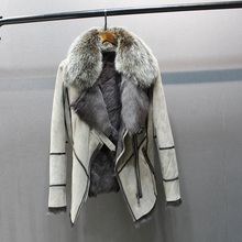 100% אמיתי כבש עור עם פרווה מעיל עם פרוות שועל צווארון slim סגנונות אופנה נשים סתיו עור כבש כבשים פרווה מעיל