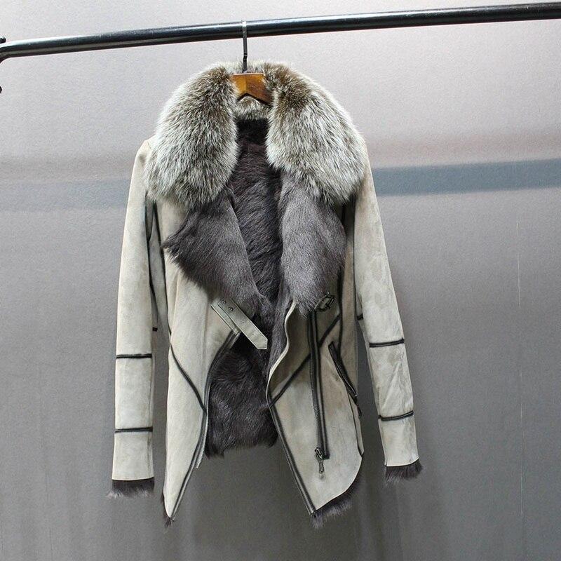 100% véritable peau de mouton en cuir avec manteau de fourrure avec col de fourrure de renard mince styles mode femmes automne peau et agneau mouton veste de fourrure