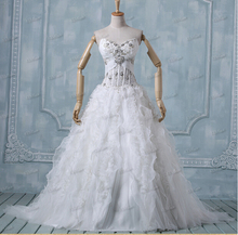 bridal gown crystal beading 2018 fashion robe de mariage vestido de noiva ruffles organza ball gowns mother of the bride dresses