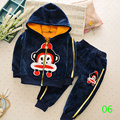 Winter children 's clothing  cartoon monkey zipper hooded sweater+cashmere suits small and medium - sized boy sports  clothing