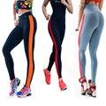 ISTider 18 Colors New Womens Leggings One Stripe Patchwork Workout Pants High Waist Leggings Slim Fitness Pants Elastic Leggins