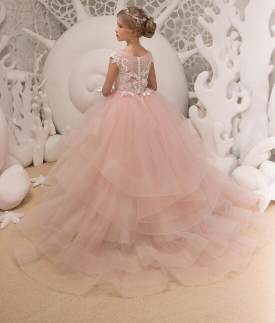 Ivory and Blush Pink lace Flower Girl Dress Birthday Wedding Bridesmaid Holiday long train princess party celebration gown цены