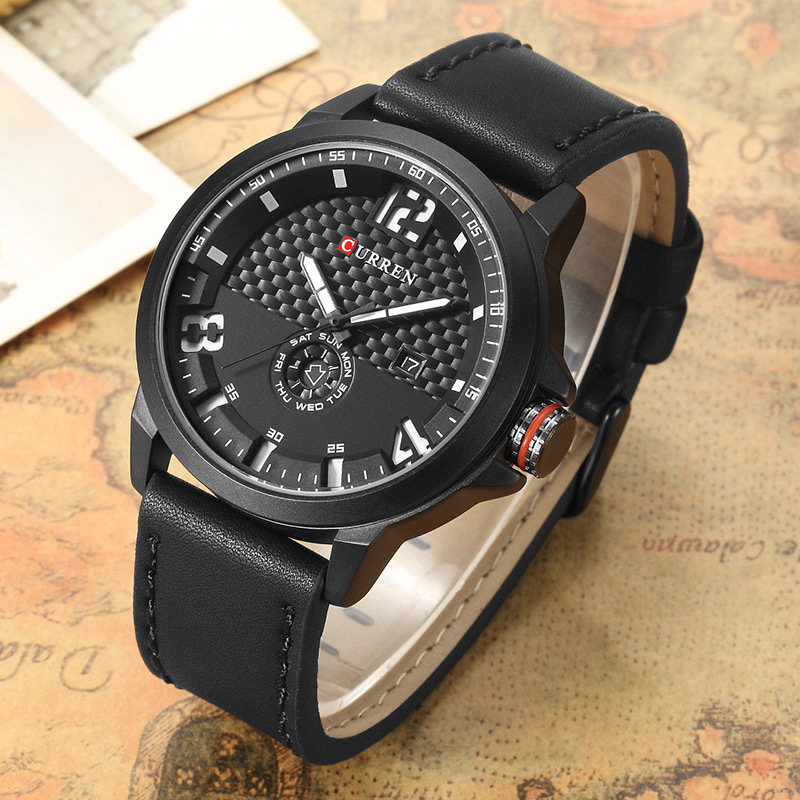 CURREN Luxury Brand Military Watches Men Quartz Analog 3D Face Leather Clock Man Sports Watches Army Watch Relogios Masculino mini focus luxury brand military watches men quartz leather clock horloges mannen analog sports army watch with original box