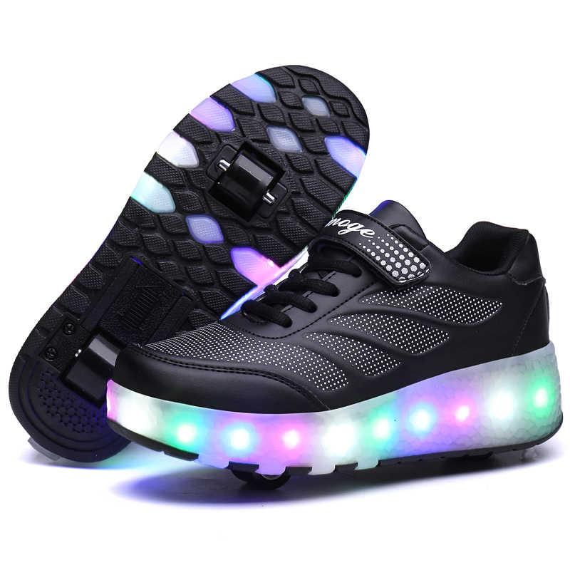 Twee Wielen Lichtgevende Sneakers Blauw Roze Led Licht Roller Skate Schoenen voor Kinderen Kids Led Schoenen Jongens Meisjes Schoenen Licht up 28-43