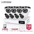 H.View 8CH AHD CCTV System 720P HDMI AHD CCTV DVR 8PCS 1.0 Megapixels Enhanced Night Vision Security Camera With 1TB HDD