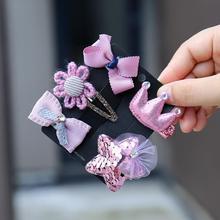 CT2 5 PCS /set Cute Cartoon cat Animal Love heart hair clips accessory candy bowknot hairpin crown tiara full cloth barrettes