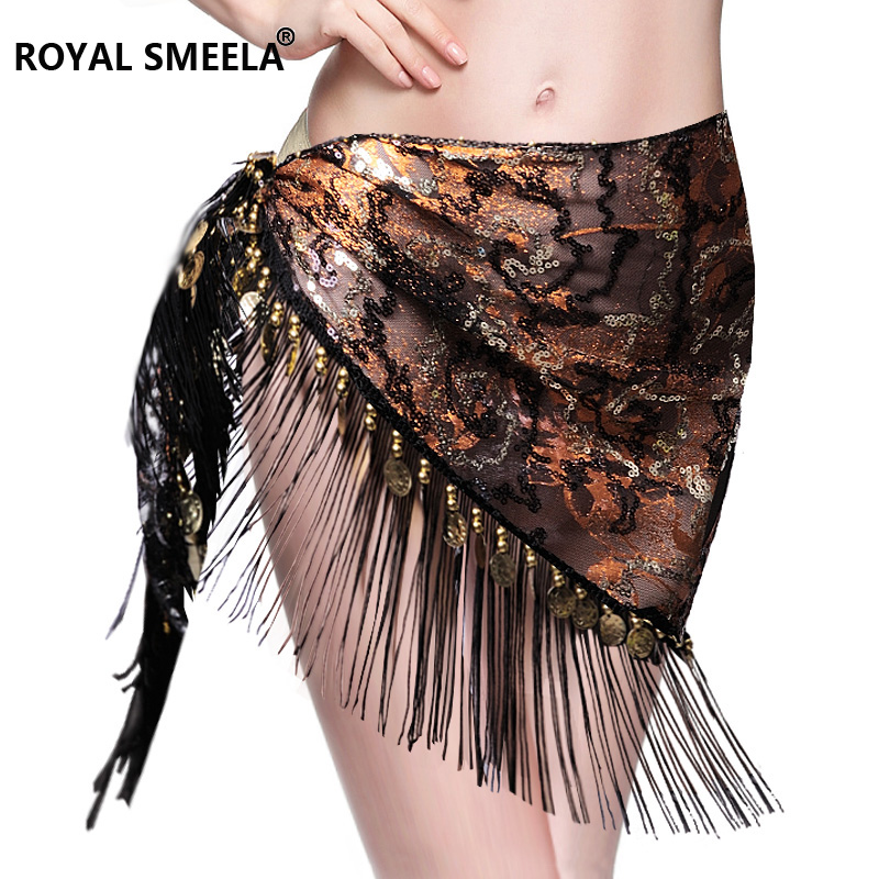 Hot Sale 2018 New design embroidery bellydance hip scarf tassels Hip Scarves Tribal Belly dance fringe shawl Belt 9758