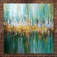 Hand Painted Modern Abstract Green Turquoise Oil Painting On Canvas Turquoise Wall Picture Living Room Hotel