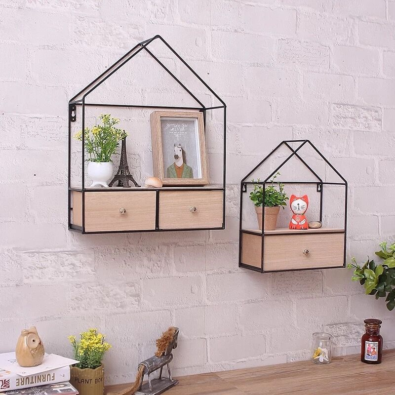 Creative Iron + Wood Living Room Bedroom Wall Triangle Closet Drawer Storage Cabinet Router Rack Home Decoration цены онлайн