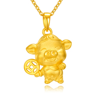 New 999 24K Yellow Gold Pendant 3D Coin Cartoon Pig Necklace Pendant Bring Lucky
