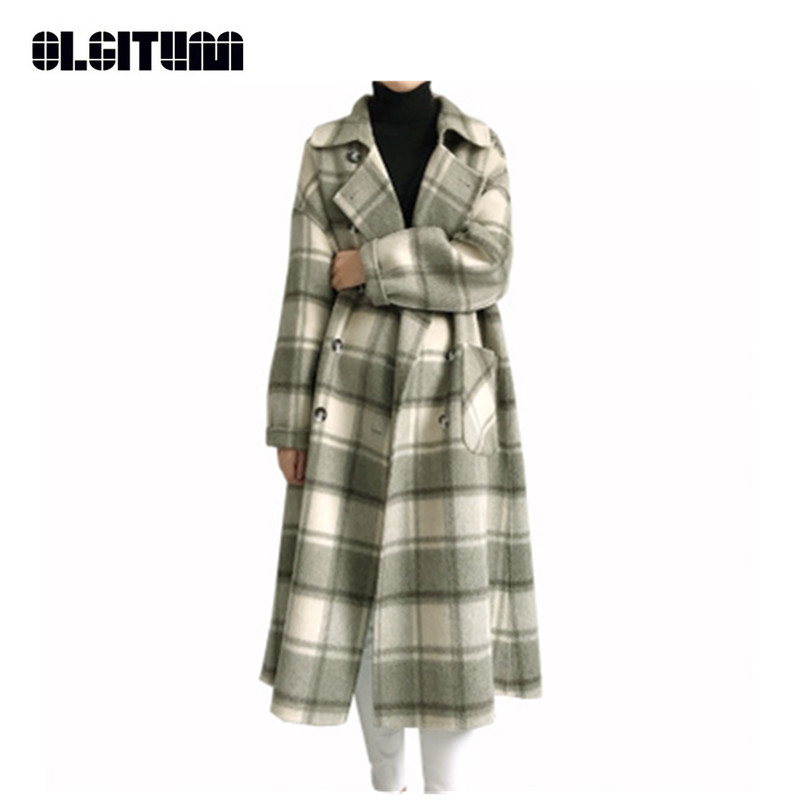 Новинка 2018, двухстороннее кашемировое пальто, Женское зимнее Ретро клетчатое пальто, Свободное длинное теплое шерстяное пальто, кашемировое пальто для женщин размера плюс