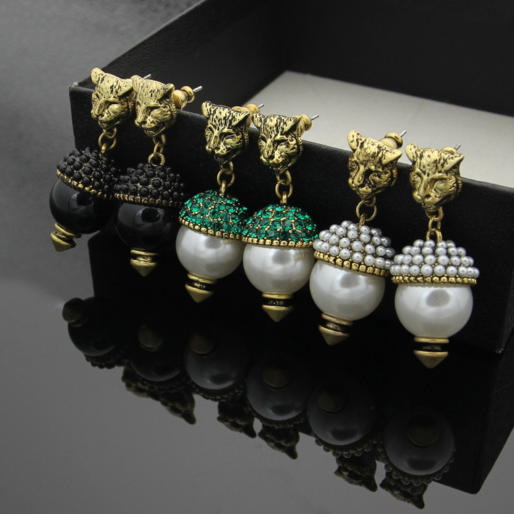 Copper Jewelry Leopard Head Hanging Pearl Stud Earrings Tiger Head Green Rhinestone Black Stud Earrings for Women catalog lee