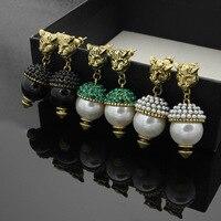 Copper Jewelry Leopard Head Hanging Pearl Stud Earrings Tiger Head Green Rhinestone Black Stud Earrings for Women