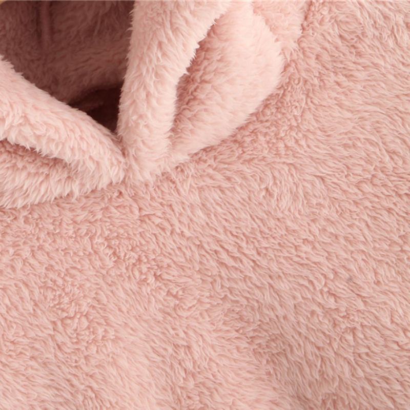 SHEIN Preppy Lovely With Bears Ears Solid Teddy Hoodie Pullovers Sweatshirt Autumn Women Campus Casual Sweatshirts 7