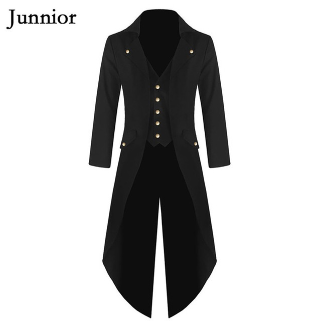 169f343c4bf Magician Long Tuxedo Man Coat Vintage Plain Stage Prom Blazer Purple Green  Red Notched Costumes Tailcoat Men Plus Size 4XL
