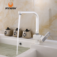 MYNAH Russia Free Shipping White Kitchen Faucet Sink Hot And Cold Water Kitchen Accessories Contemporary Swivel Faucet M5449J