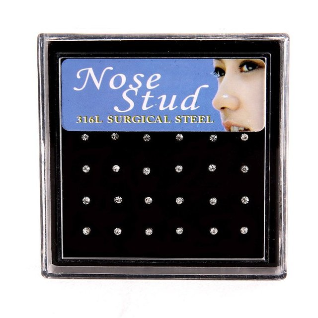 24pcs Crystal Nose Ring & Studs Fashion Body Women Girl Jewelry Stainless Surgical Steel Nose Piercing Colorful Rhinestone