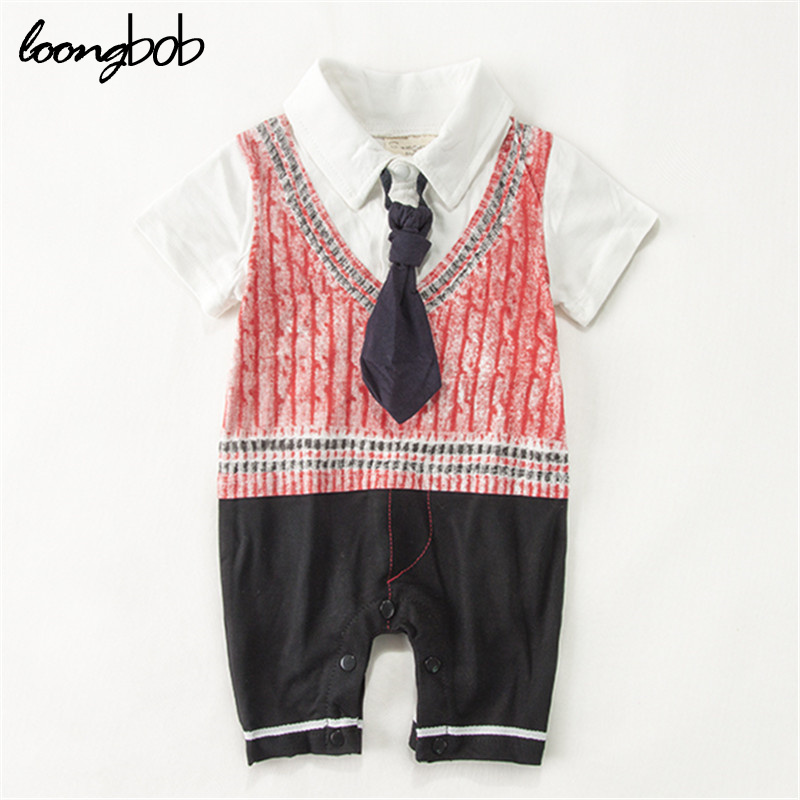 Spring Autumn Baby Boys Gentleman Rompers Tie and Suits One Piece Infant Vintage Old School Stylish Wearing
