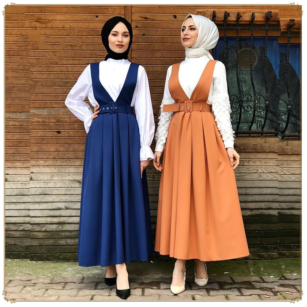 High Waist Ruffles Straps Skirt Women's Muslim Bottoms Big Swing  Long Skirts Party Ramadan Worship Service Middle East Islamic(China)