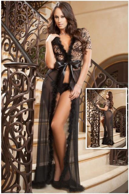 28c28dc7aedc New 2015 Women Sexy Nightwear Hot Exotic Apparel New Sexy Sleepwear Sensual  Lace Fur Trim Glam Night Robe