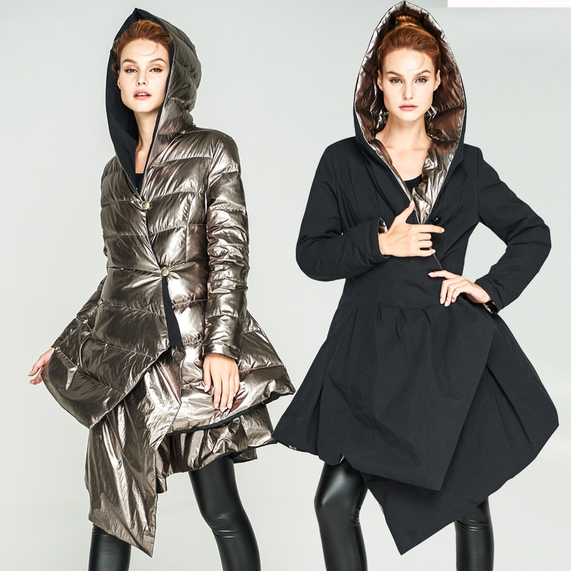 Женский зимний пуховик с капюшоном, асимметричный, кофейный, золотой, черный, с обеих сторон, пуховое пальто, женская юбка, стильная модная п