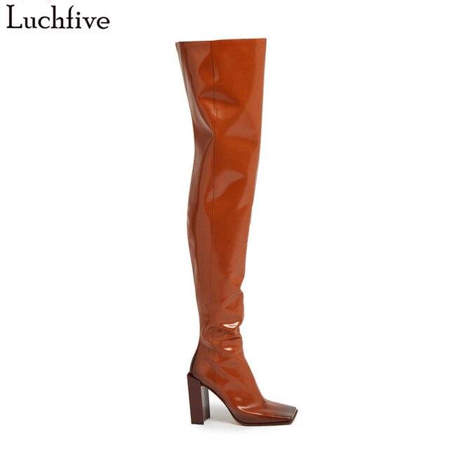 Botas sobre la rodilla de cuero con cremallera QnECjaj