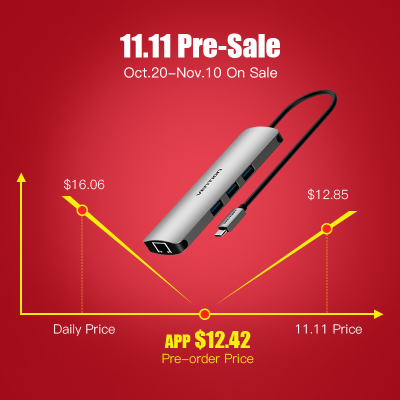 Tions USB-C HUB Typ C HUB Zu USB 3.0 Thunderbolt 3 HDMI 3,5mm Audio RJ45 Gigabit Ethernet Adapter SD/ TF Kartenleser USB C HUB