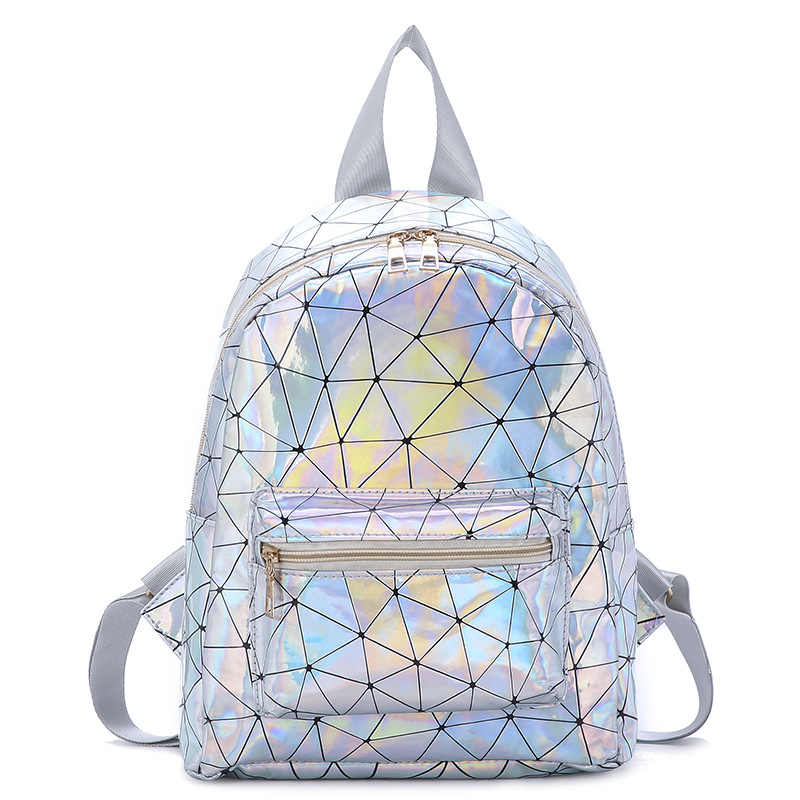 16683f7f2813 Women Large Capacity Holographic Laptop Backpack Top-handle Rucksack PU  Shopping Bags Student Laser Mochila Escolar School Bags