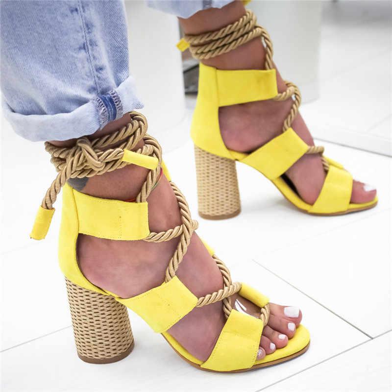 2019 夏のサンダル女性サンダルハイヒール指摘口サンダル麻サンダルハイヒールオープントゥの靴女性
