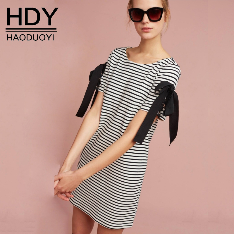 HDY Women's Dress Short Sleeve T Shirt Striped Dress Tie Bow Summer Dresses Black and White Striped Dress Shirt 2018