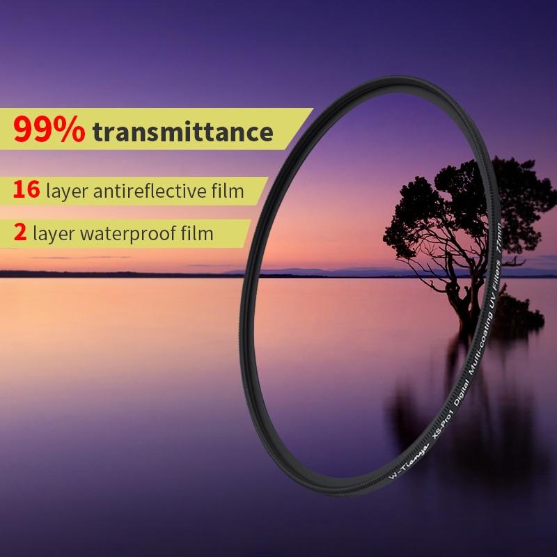 WTIANYA filtro UV MRC 67 77 m 18-camada multi-43 37 revestimento UV ultra-fino 40.5 39 46 49 52 58 62 72 82 milímetros mcuv filtro à prova d' água