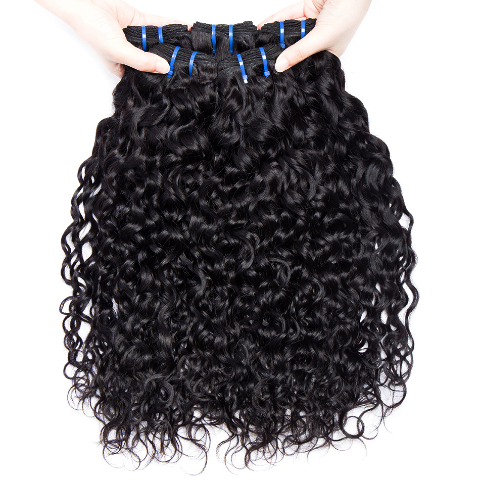AliBele Brazilian Water Wave Hair Weave 3 Bundles Brazilian Human Hair Extensions Natural Color 1B Remy