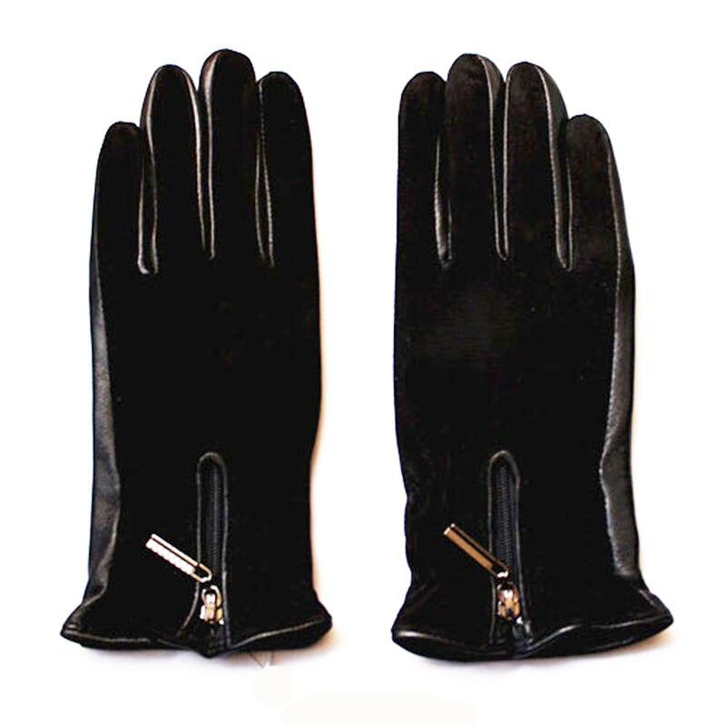 Image 5 - Sheepskin gloves women thickening autumn and winter warm new suede gloves fashion zipper style leather finger glovesWomens Gloves   -